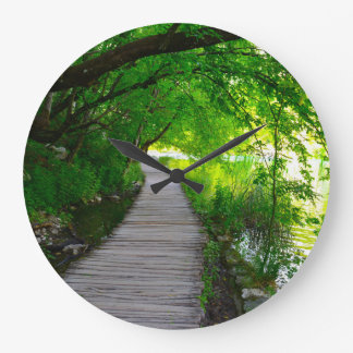 Hiking Path in Plitvice National Park in Croatia Large Clock