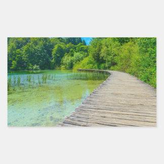 Hiking Path in Plitvice National Park in Croatia Rectangular Sticker