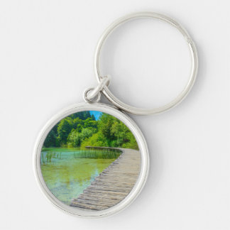Hiking Path in Plitvice National Park in Croatia Silver-Colored Round Key Ring