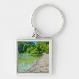Hiking Path in Plitvice National Park in Croatia Silver-Colored Square Key Ring