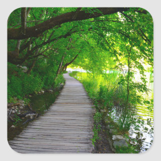 Hiking Path in Plitvice National Park in Croatia Square Sticker