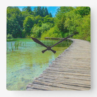 Hiking Path in Plitvice National Park in Croatia Square Wall Clock