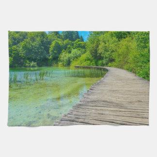 Hiking Path in Plitvice National Park in Croatia Tea Towel
