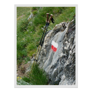 Hiking Poles, Trail Marker, Grand Tour of the Alps Poster