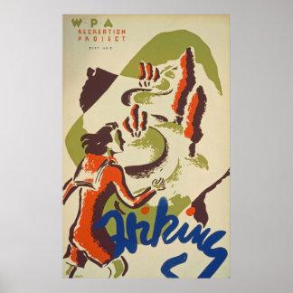 Hiking Sport Vintage Poster