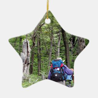 Hiking through trees, Torres del Paine Park, Chile Ceramic Star Decoration