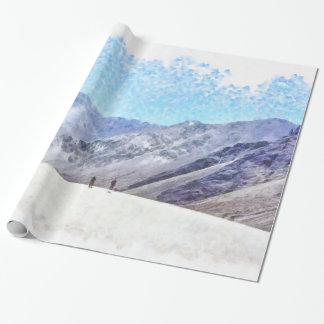 Hiking to the top wrapping paper