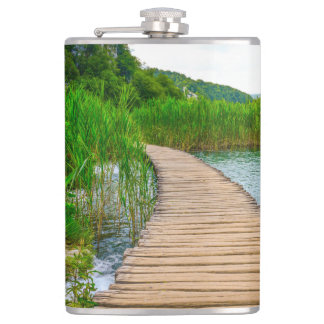 Hiking Trail in Plitvice National Park in Croatia Flasks