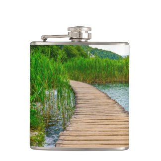 Hiking Trail in Plitvice National Park in Croatia Hip Flask