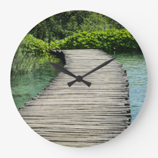 Hiking Trail in Plitvice National Park in Croatia Large Clock