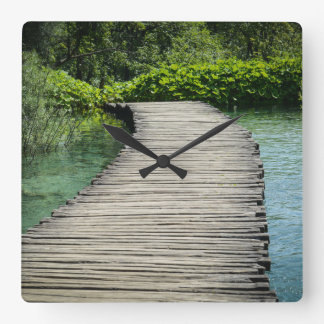 Hiking Trail in Plitvice National Park in Croatia Square Wall Clock