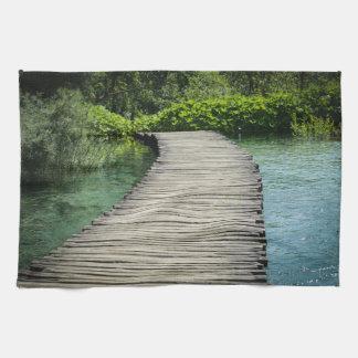 Hiking Trail in Plitvice National Park in Croatia Tea Towel