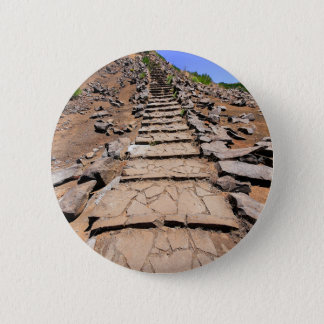 Hiking trail leading up the mountain on Madeira 6 Cm Round Badge