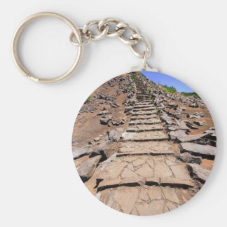 Hiking trail leading up the mountain on Madeira Basic Round Button Key Ring