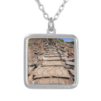 Hiking trail leading up the mountain on Madeira Silver Plated Necklace