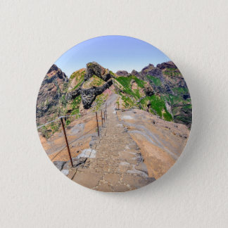 Hiking trail up in mountains on Madeira Portugal. 6 Cm Round Badge