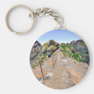Hiking trail up in mountains on Madeira Portugal. Basic Round Button Key Ring