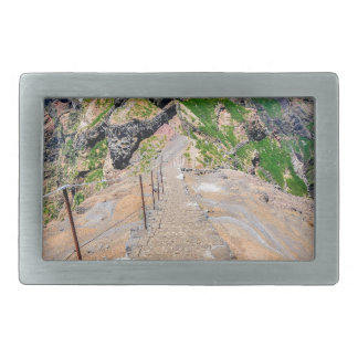 Hiking trail up in mountains on Madeira Portugal. Belt Buckles