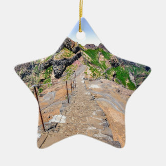 Hiking trail up in mountains on Madeira Portugal. Ceramic Ornament
