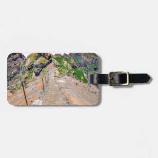Hiking trail up in mountains on Madeira Portugal. Luggage Tag