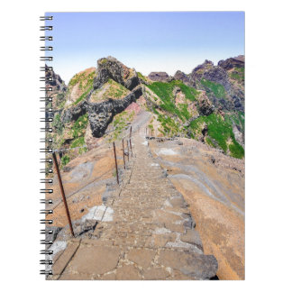 Hiking trail up in mountains on Madeira Portugal. Notebooks