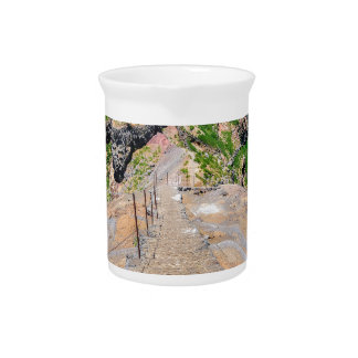 Hiking trail up in mountains on Madeira Portugal. Pitcher