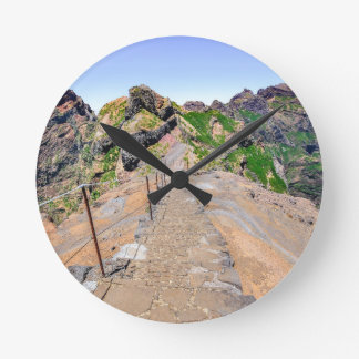 Hiking trail up in mountains on Madeira Portugal. Round Clock