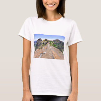 Hiking trail up in mountains on Madeira Portugal. T-Shirt