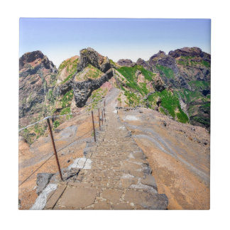 Hiking trail up in mountains on Madeira Portugal. Tile