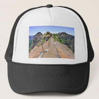 Hiking trail up in mountains on Madeira Portugal. Trucker Hat