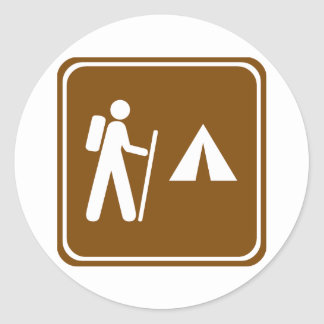 Hiking Trail with Camping Highway Sign Round Sticker