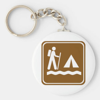 Hiking Trail with Lakeside Camping Highway Sign Keychains