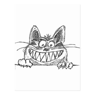 Hilarious Cat Grinning Illustration Postcard