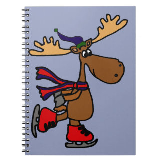 Hilarious Ice Skating Moose Note Book