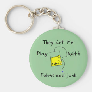 "Hilarious Nursing Student Gifts ""Foleys and Junk"" Key Ring"