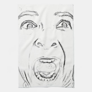 Hilarious Scared Lady Face Black and White Tea Towel