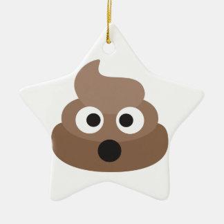 Hilarious shocked Emoji Poop Ceramic Ornament