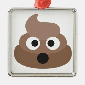 Hilarious shocked Emoji Poop Metal Ornament