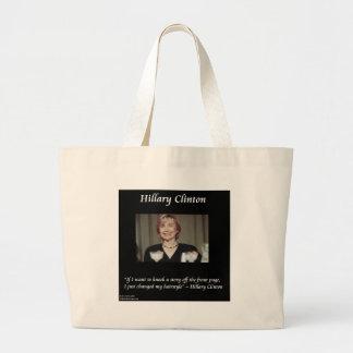 Hilary Clinton Hairstyles & Headlines Quote Jumbo Tote Bag
