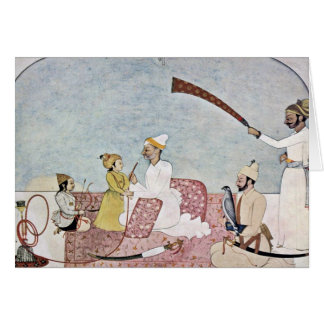 Hill-Leader (Punjab Hills) With Children By Indisc Greeting Card