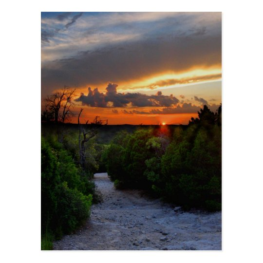 Hill Of Life Sunset - Barton Creek - Austin Texas Postcard