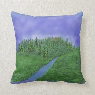 Hill & stream throw pillow