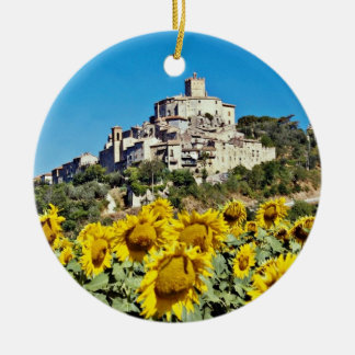 Hill town of Narni, Umbria, Italy  flowers Ceramic Ornament