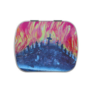 hill with crosses fire spraypainting candy tin