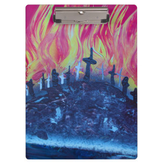 hill with crosses fire spraypainting clipboards