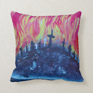 hill with crosses fire spraypainting cushion
