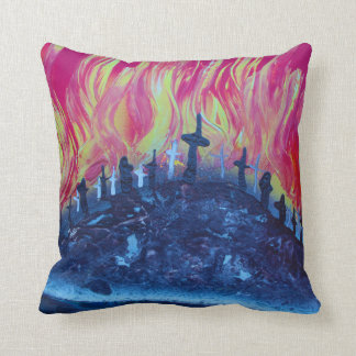 hill with crosses fire spraypainting throw cushions