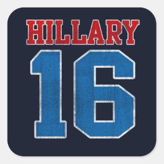 Hillary 2016, Grunge Retro Varsity Square Sticker