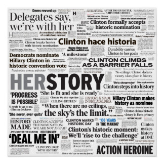 Hillary 2016 Historic Headline Collage Poster