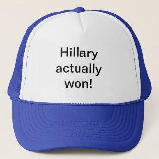 Hillary actually won hats. trucker hat